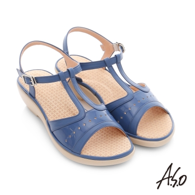 A.S.O 挺麗氣墊 全真皮寬楦鏤空氣墊楔型涼拖鞋 藍色