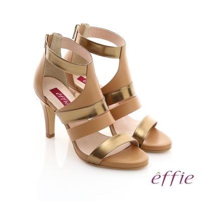 effie 修身美型系列 全真皮雙色拼接金箔露趾高跟鞋 茶色