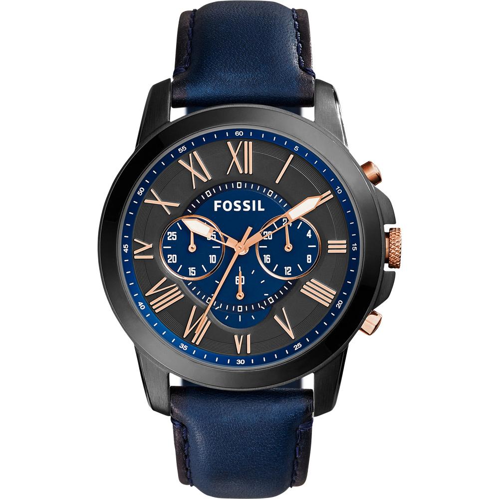 FOSSIL Grant 旗艦三眼計時復刻腕錶-黑x藍/44mm