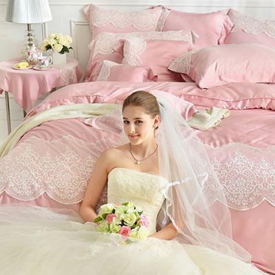 義大利La Belle 雅典娜 雙人天絲蕾絲四件式防蹣抗菌舖棉兩用被床包組