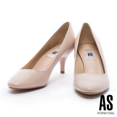 高跟鞋 AS 典雅純色全羊皮微尖頭高跟鞋-粉