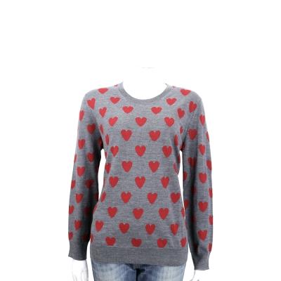 BURBERRY  愛心美麗諾羊毛長袖針織衫(灰色)