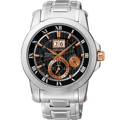 SEIKO PREMIER 人動電能萬年曆腕錶(SNP098J1)-黑x玫塊金/42mm