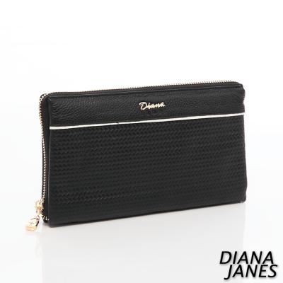 Diana-Janes-牛皮壓紋萬用夾-黑