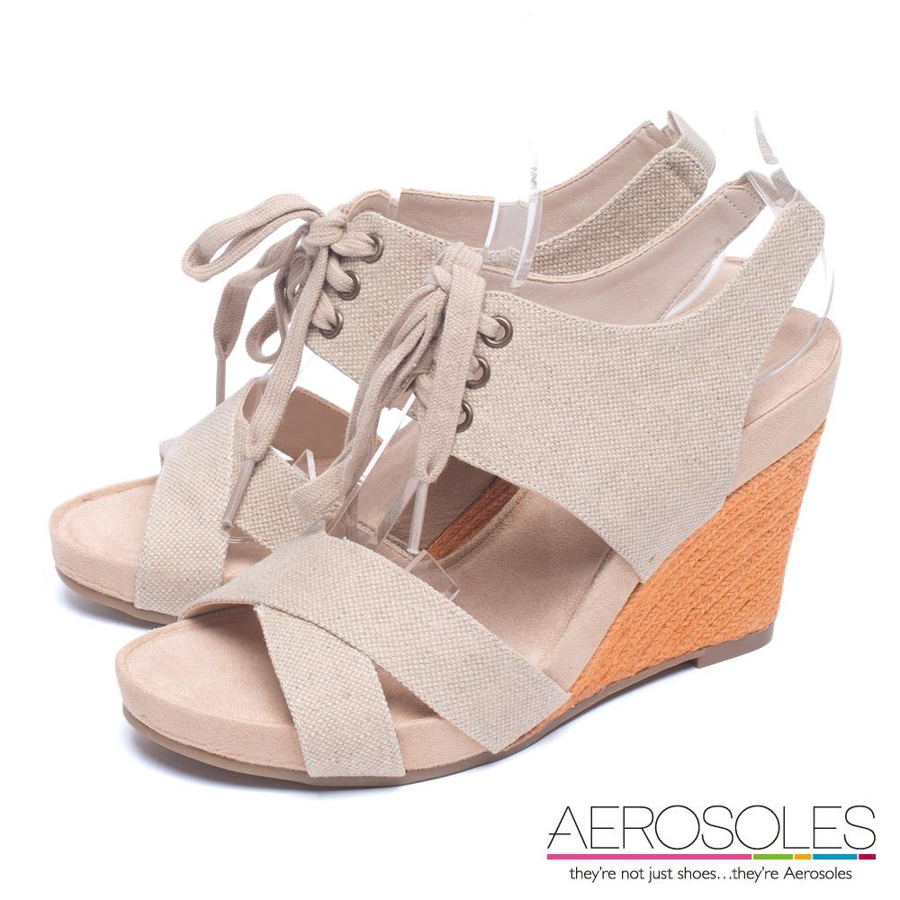 AEROSOLES 渡假樂活百搭交叉帆布綁帶飾楔型涼鞋~奶油杏