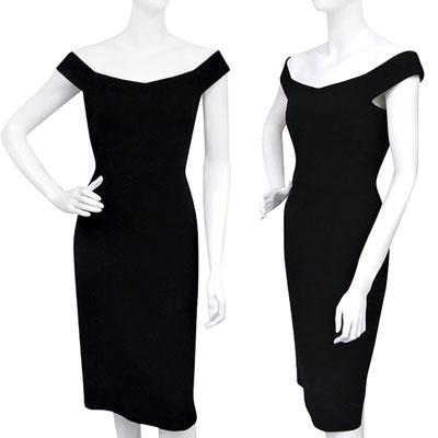 GUCCI 優雅露肩造型洋裝【42號】(黑色)