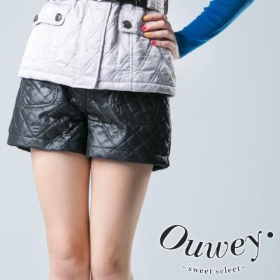 OUWEY歐薇鋪棉車格口袋短褲-黑