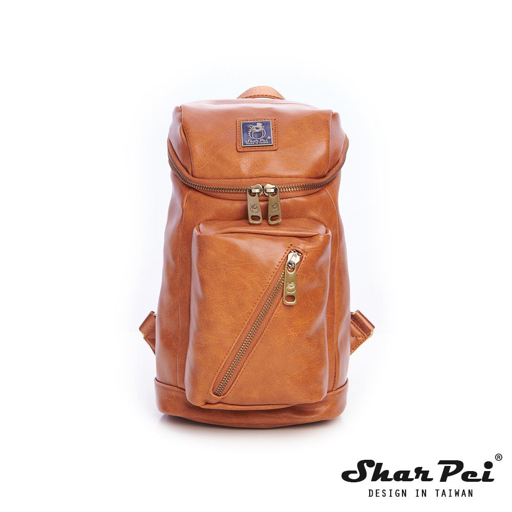 SharPei沙皮狗-城市漫遊x時尚騎士單肩側背包-拿鐵棕