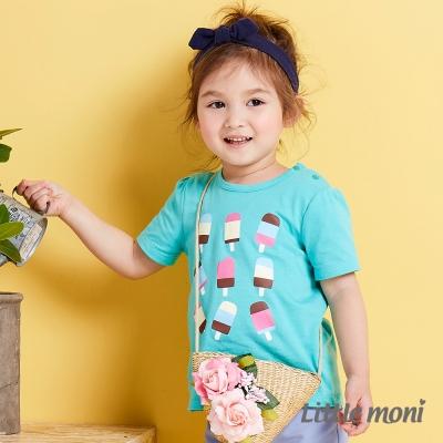 Little moni 夏日冰棒女孩短袖上衣 薄荷綠