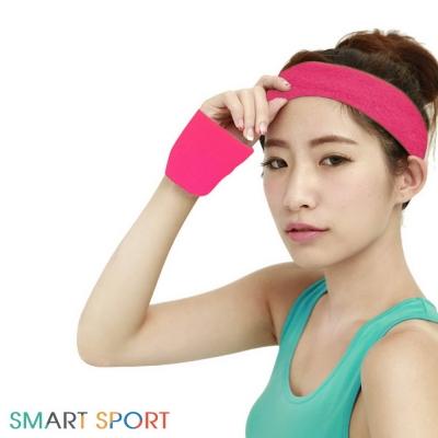 [SMART SPORT] 台灣製造 100%純棉運動頭帶腕帶組合-素色2+2 (薔薇紅)