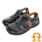 GEORGE 喬治-氣墊系列 真皮寬楦魔鬼氈休閒涼鞋拖鞋(男)-黑色