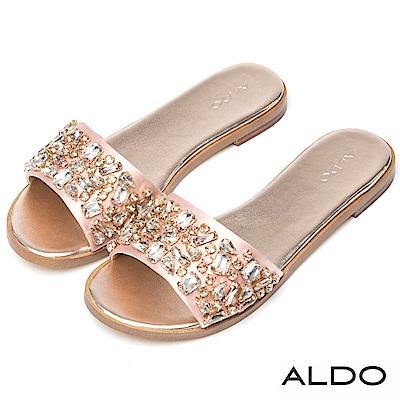 ALDO 原色緞面多切面寶石低跟涼拖鞋~氣質裸色