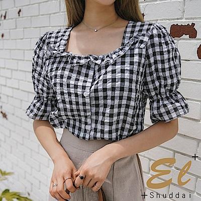 正韓 方領格紋泡袖甜美襯衫-(共二色)El Shuddai