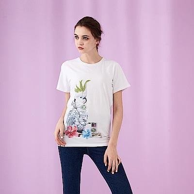 ICHE 衣哲 時尚設計印花燙鑽亮片造型上衣-白