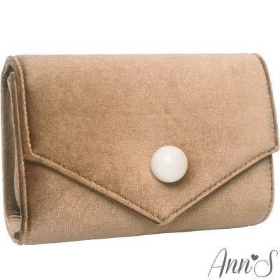 Ann'S時髦貴氣天鵝絨圓球信封包-卡其
