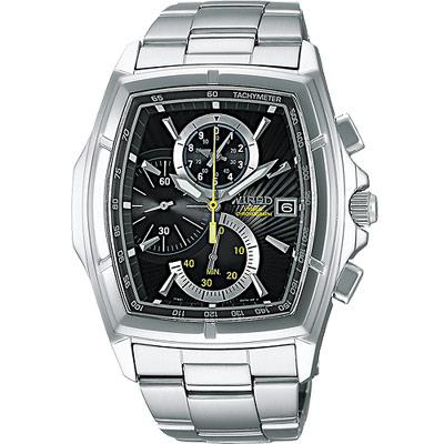WIRED-世紀之戰三眼計時腕錶-AQ8013X1-黑-36mm