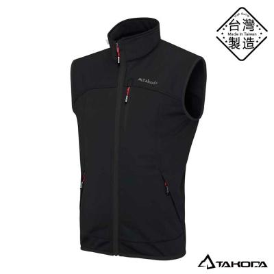 TAKODA 男款鈦紗熱循環防風透氣防潑水高彈性保暖背心(黑色)