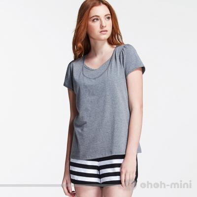 【ohoh-mini 孕婦裝】動感活力條紋成套哺乳休閒服