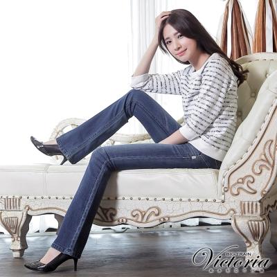 Victoria 彩繡靴型褲-女-中藍
