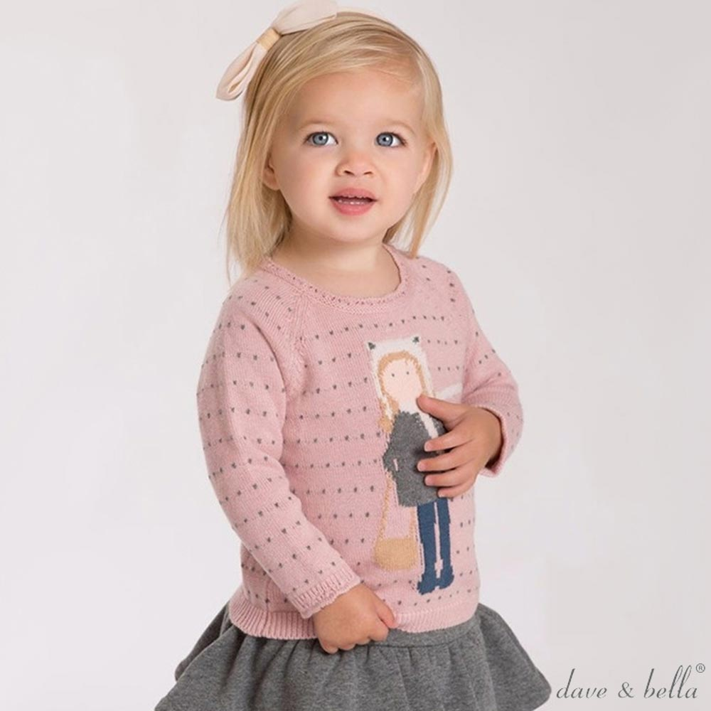 Dave Bella 粉紅灰點點小女孩長袖針織上衣