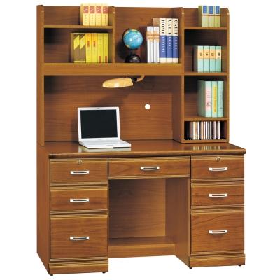 時尚屋 雅安樟木實木4.2尺層架書桌 寬127cm