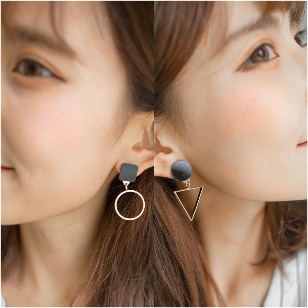 梨花HaNA 韓版三角型正方几何遊戲耳環