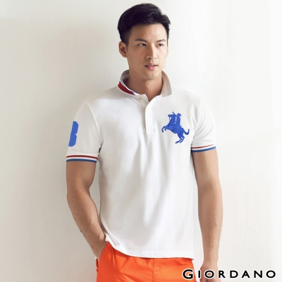GIORDANO-男裝拿破崙刺繡彈性POLO衫-3
