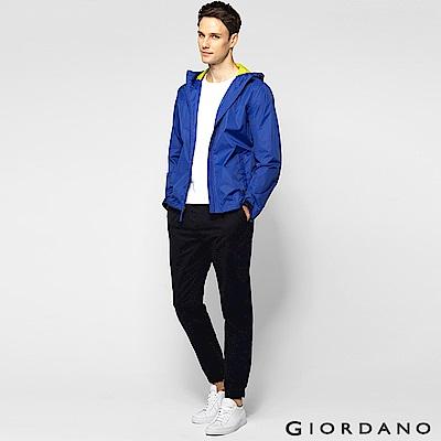 GIORDANO 男裝素色修身梭織束口褲-10 標志黑色