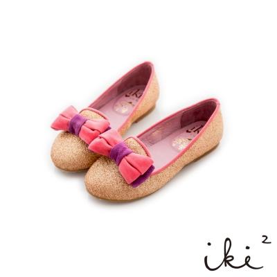 iki2童鞋 絨布蝴蝶結配色樂福鞋-閃耀金