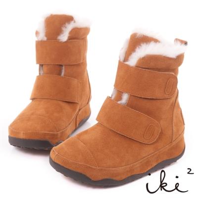 iki2機能雪靴系列-真麂皮魔鬼氈厚底雪靴-森林棕