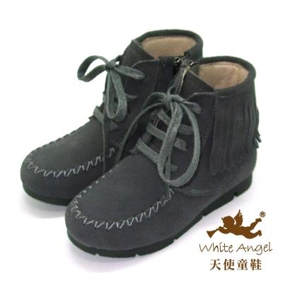 天使童鞋-C2382-流蘇中性拉鍊真皮短靴-灰