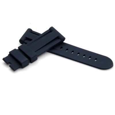 PARNIS BOX 24mm 代用錶帶 防水 矽膠錶帶 柔軟 深藍
