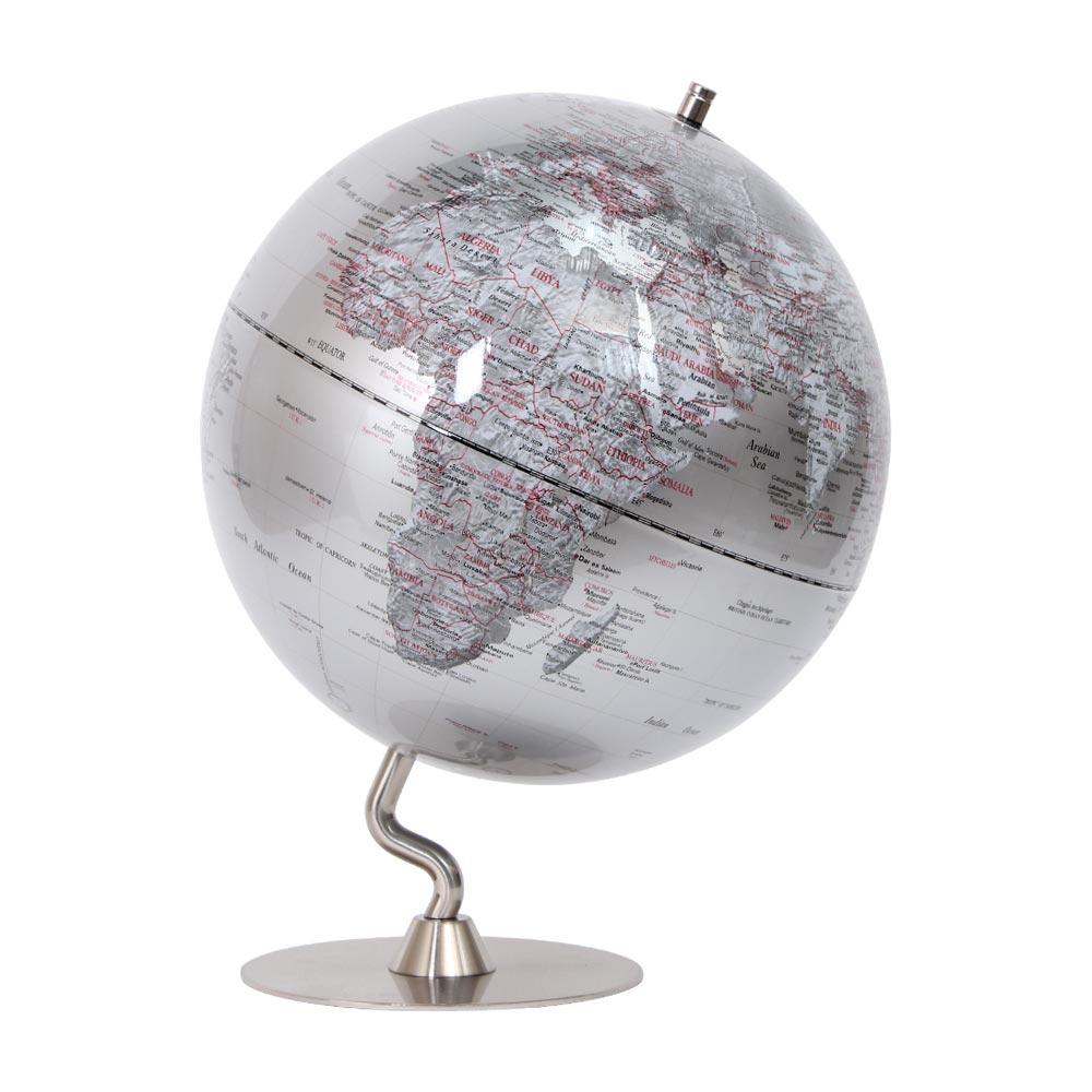 SkyGlobe 12吋銀色時尚金屬底座地球儀(英文版)