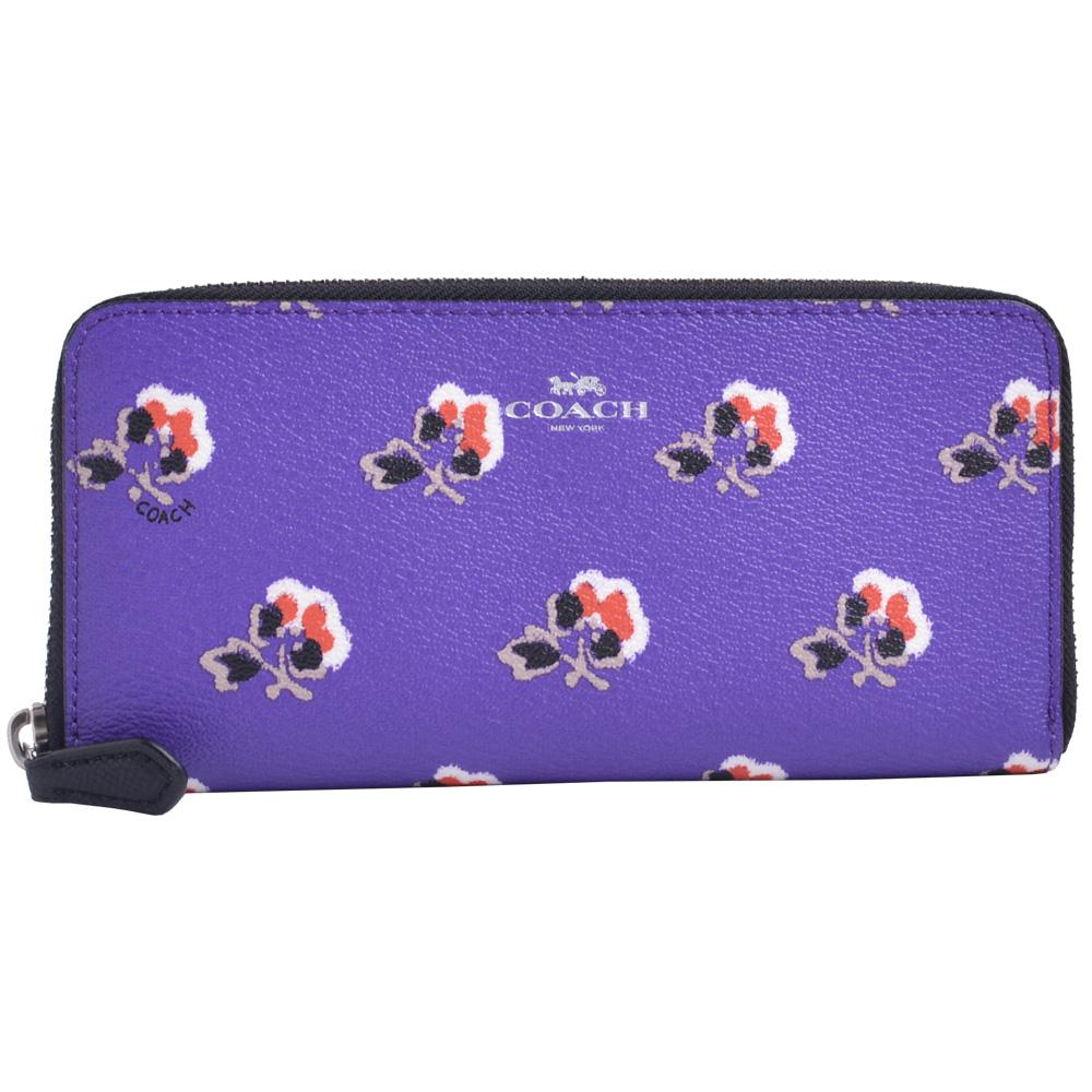 COACH  燙銀LOGO防刮皮革花卉拉鍊長夾-紫