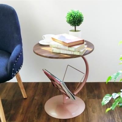 Amos-玫瑰金月彎雜誌收納茶几桌45x45x53cm