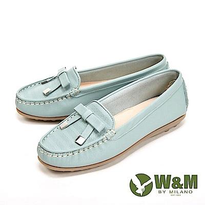 W&M 可水洗舒適柔軟蝴蝶釦 豆豆鞋 女鞋-淺藍綠