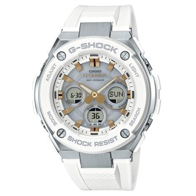 G-SHOCK創新突破分層防護雙層結構休閒錶(GST-S300-7)金刻X白52.4mm