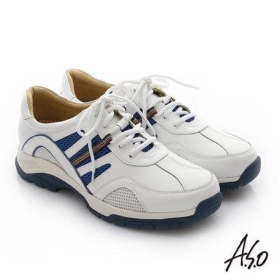 A.S.O 彈力氣墊 牛皮奈米綁帶活力休閒鞋 白色