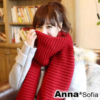 AnnaSofia-單色厚實感-粗毛線織圍巾-櫻紅系