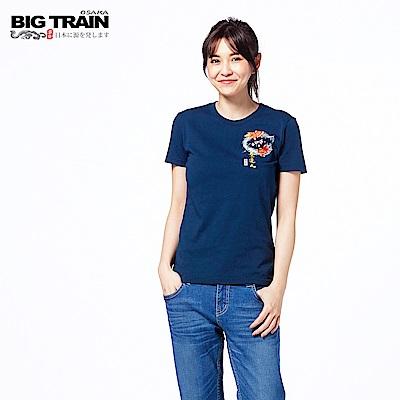 BIG TRAIN 櫻花小金魚短袖女款-女-深藍