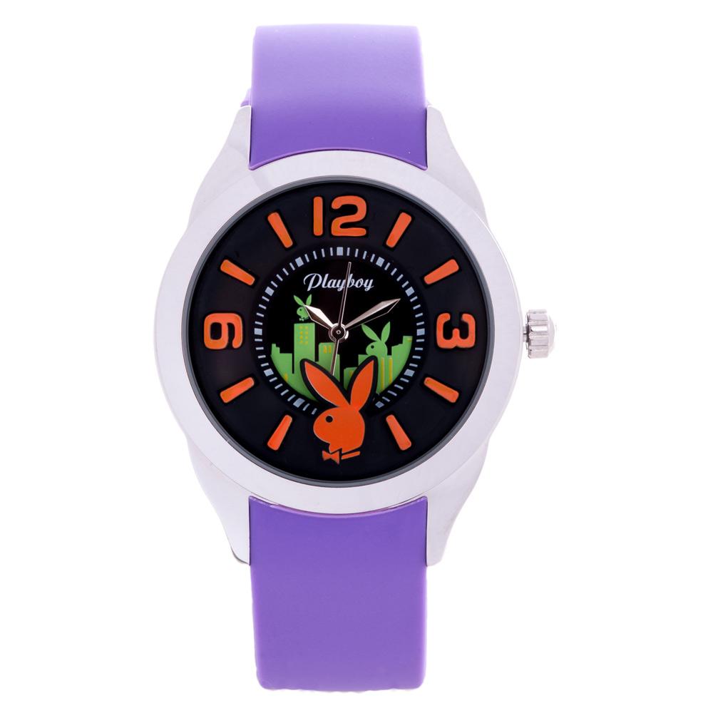 PLAYBOY 紐約城系列錶 紫色帶+銀框/42mm