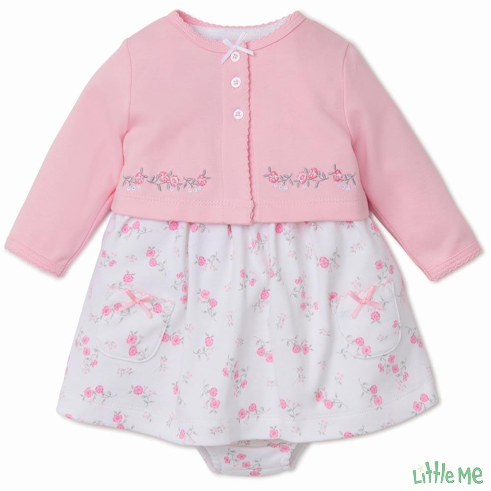 Little Me 粉白碎花刺繡外套洋裝2件組