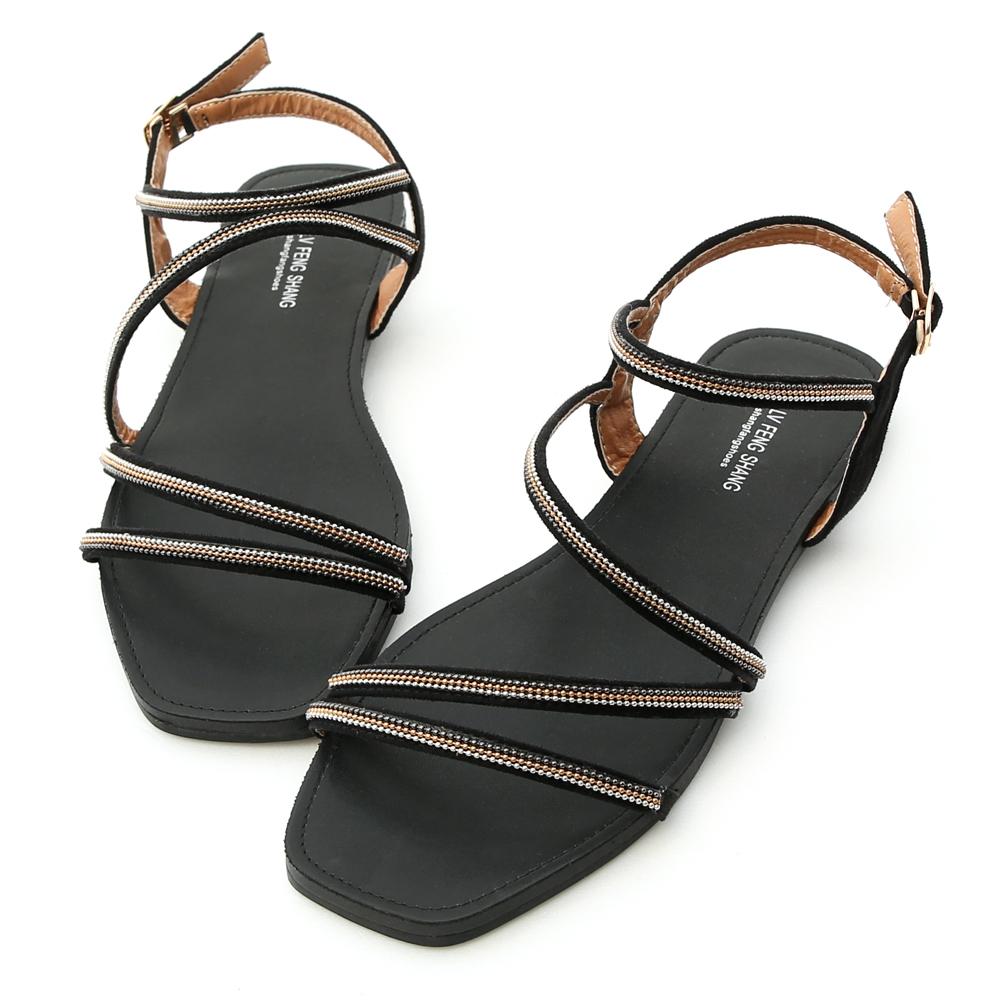 D+AF 優雅夏氛.細帶鍊飾方頭平底涼鞋*黑