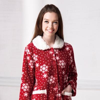 羅絲美睡衣 - 聖誕氣氛雪花暖冬褲裝睡衣 (聖誕紅)
