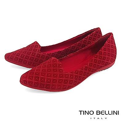 Tino Bellini 巴西進口特殊矩形壓紋樂福鞋_ 紅