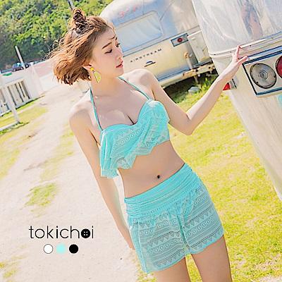 東京著衣 多色輕甜蕾絲綁帶三件式泳裝(共三色)