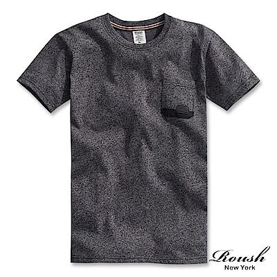 Roush 口袋配色皮標設計水洗短TEE(4色)