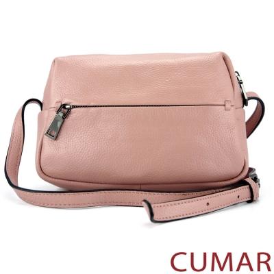 CUMAR 荔枝紋牛皮斜背小包-粉紅