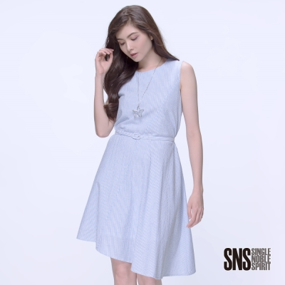 SNS 嫩彩自信直條紋造型無袖洋裝(2色)