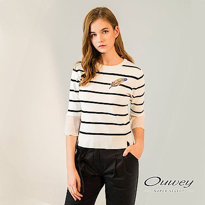 OUWEY歐薇 剪接七分袖條紋針織上衣(白)-動態show